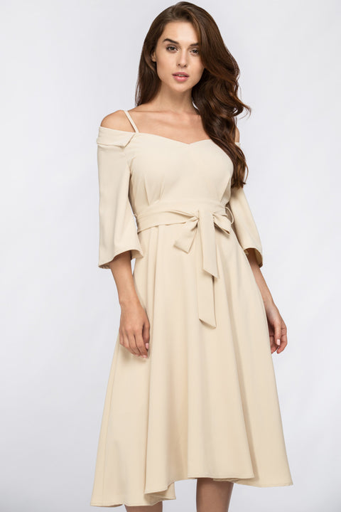 The Real Fouz - Cream Off Shoulder Chelsea Collar Midi Dress 249