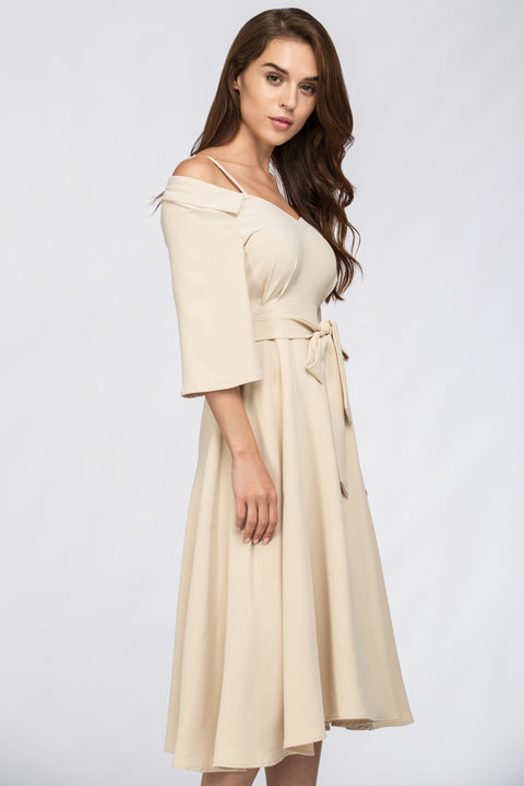 The Real Fouz - Cream Off Shoulder Chelsea Collar Midi Dress 15
