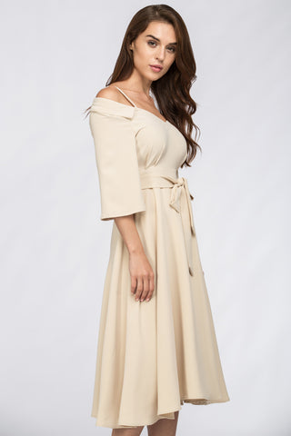 The Real Fouz - Cream Off Shoulder Chelsea Collar Midi Dress 13