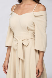 The Real Fouz - Cream Off Shoulder Chelsea Collar Midi Dress