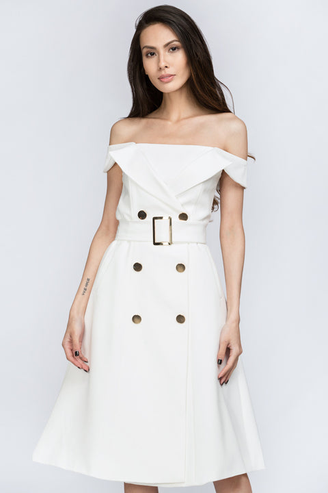 The Real Fouz - White Belt and Button Detail Off the Shoulder Midi Dress 0