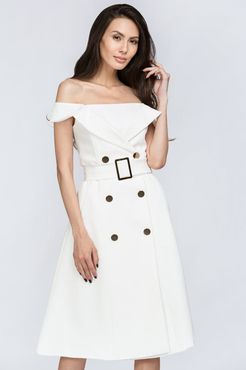 The Real Fouz - White Belt and Button Detail Off the Shoulder Midi Dress 1