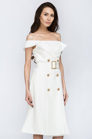 The Real Fouz - White Belt and Button Detail Off the Shoulder Midi Dress