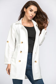 White Double Button Trench Coat