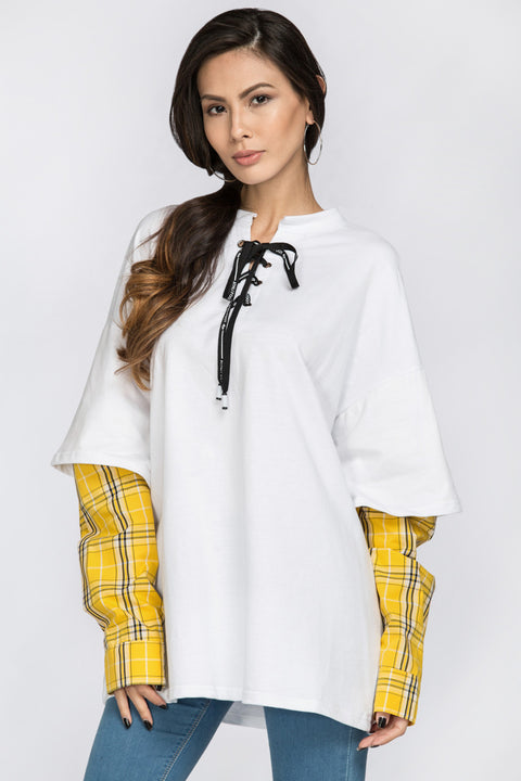 White Drop Shoulder Tshirt with Yellow Plaid Layer 22