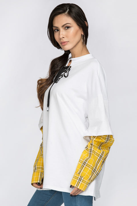 White Drop Shoulder Tshirt with Yellow Plaid Layer 21