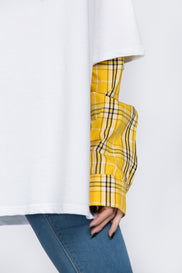 White Drop Shoulder Tshirt with Yellow Plaid Layer