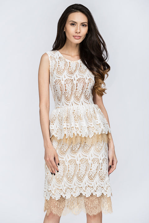 White Lace Scalloped Peplum Midi Dress 69