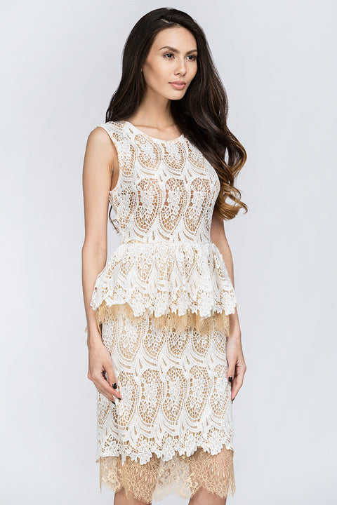 White Lace Scalloped Peplum Midi Dress 70