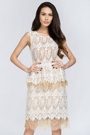 White Lace Scalloped Peplum Midi Dress