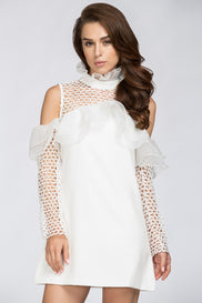 White Lace Yoke Ruffle Off the Shoulder Mini Dress