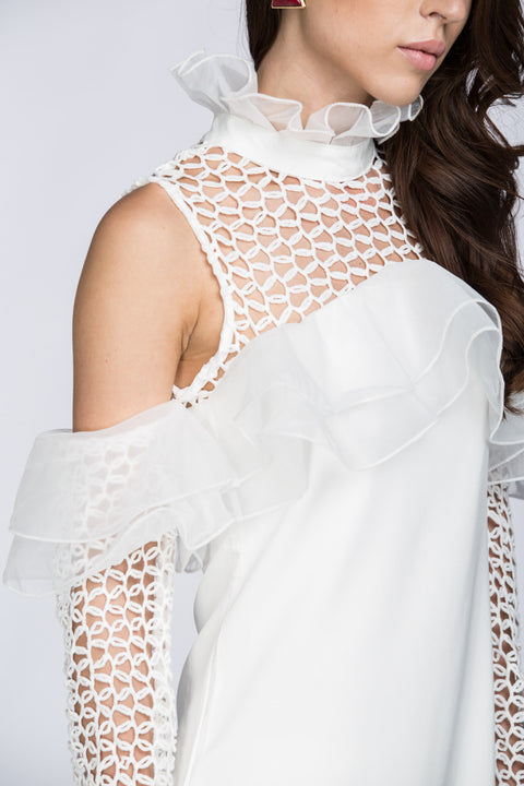 White Lace Yoke Ruffle Off the Shoulder Mini Dress 76