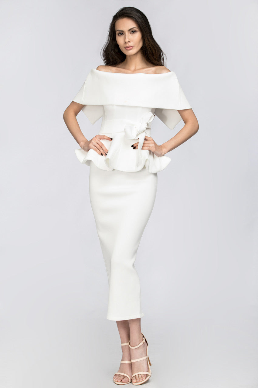 White Lily Off the Shoulder Peplum Two-piece Dress
