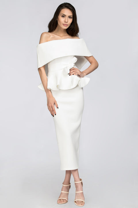 White Lily Off the Shoulder Peplum Two-piece Dress 53