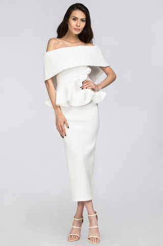 White Lily Off the Shoulder Peplum Two-piece Dress 29