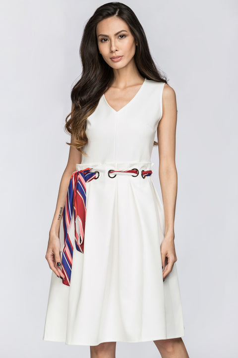 Deema Al Asadi - White Nautical Belted Midi Dress 130