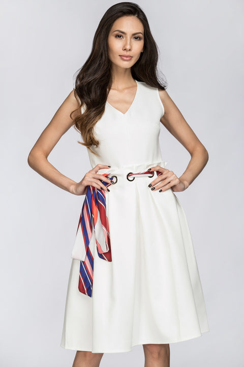 Deema Al Asadi - White Nautical Belted Midi Dress 131