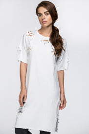 White Pearl and Studs Distressed T-Shirt