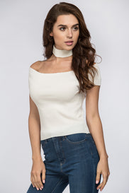 White Ribbed Off the Shoulder Choker Top