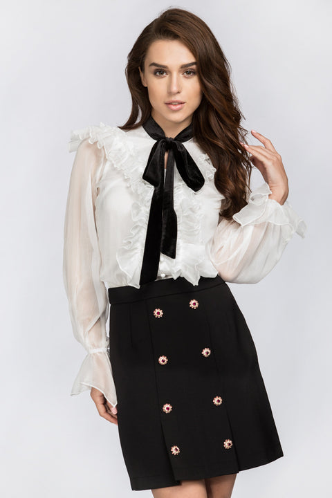 White Ruffle Collar Top with Black Bow 20