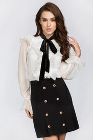 Black Gold Button Detail Skirt