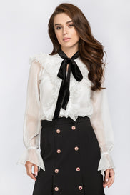 White Ruffle Collar Top with Black Bow