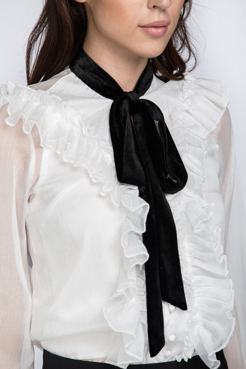 White Ruffle Collar Top with Black Bow 21