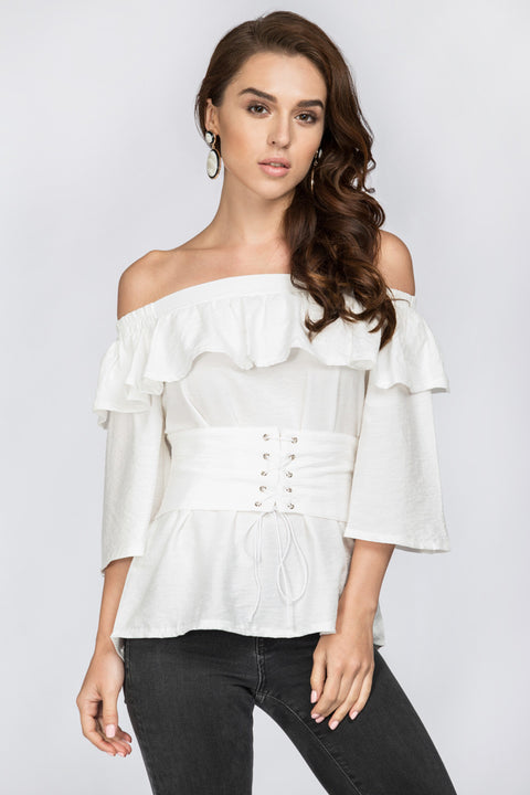White Ruffled Off the Shoulder Corset Top 14