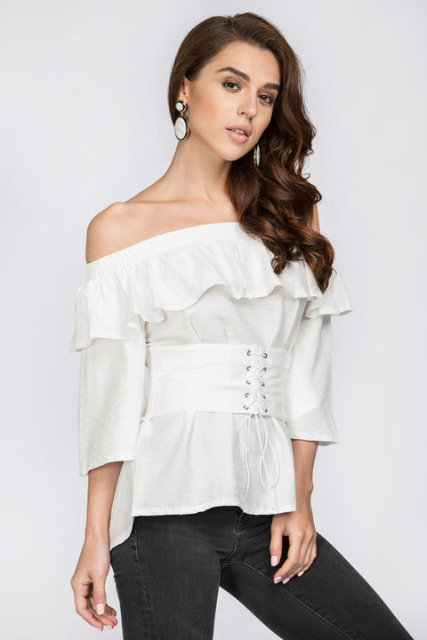 White Ruffled Off the Shoulder Corset Top 147