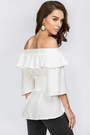 White Ruffled Off the Shoulder Corset Top