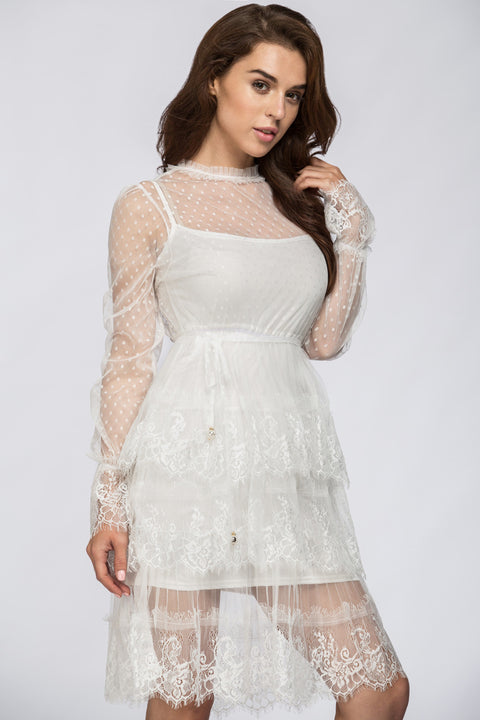 White Sheer Lace Scalloped Two-piece Midi Dress 224