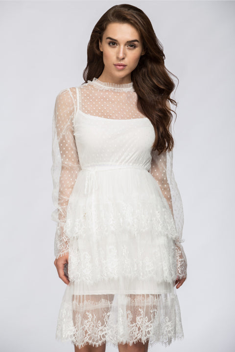 White Sheer Lace Scalloped Two-piece Midi Dress 225