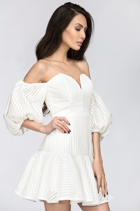 White Sweetheart Puff Sleeve Off the Shoulder Mini Dress