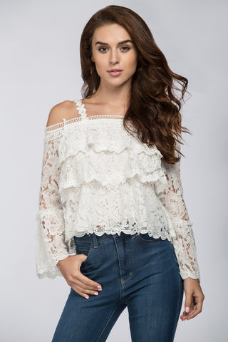White Tiered Lace Off the Shoulder Top 82