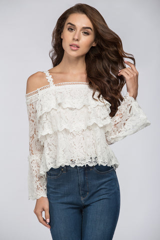White Tiered Lace Off the Shoulder Top 91