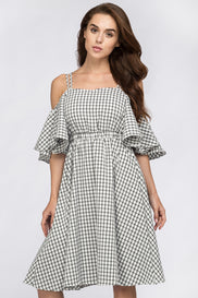 Deema Al Asadi - Window Plaid Off the Shoulder Midi Dress