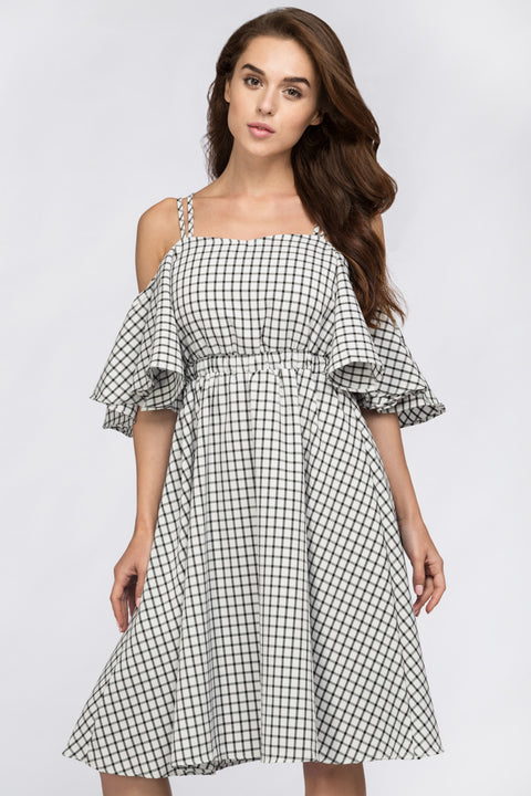 Deema Al Asadi - Window Plaid Off the Shoulder Midi Dress 193