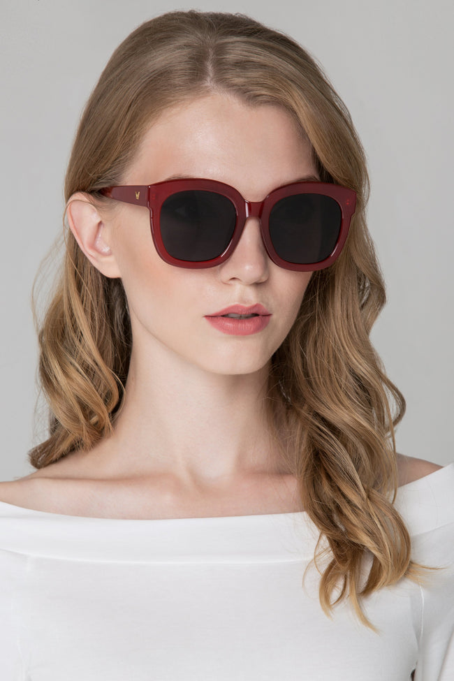 Burgundy Oversized Sunglasses