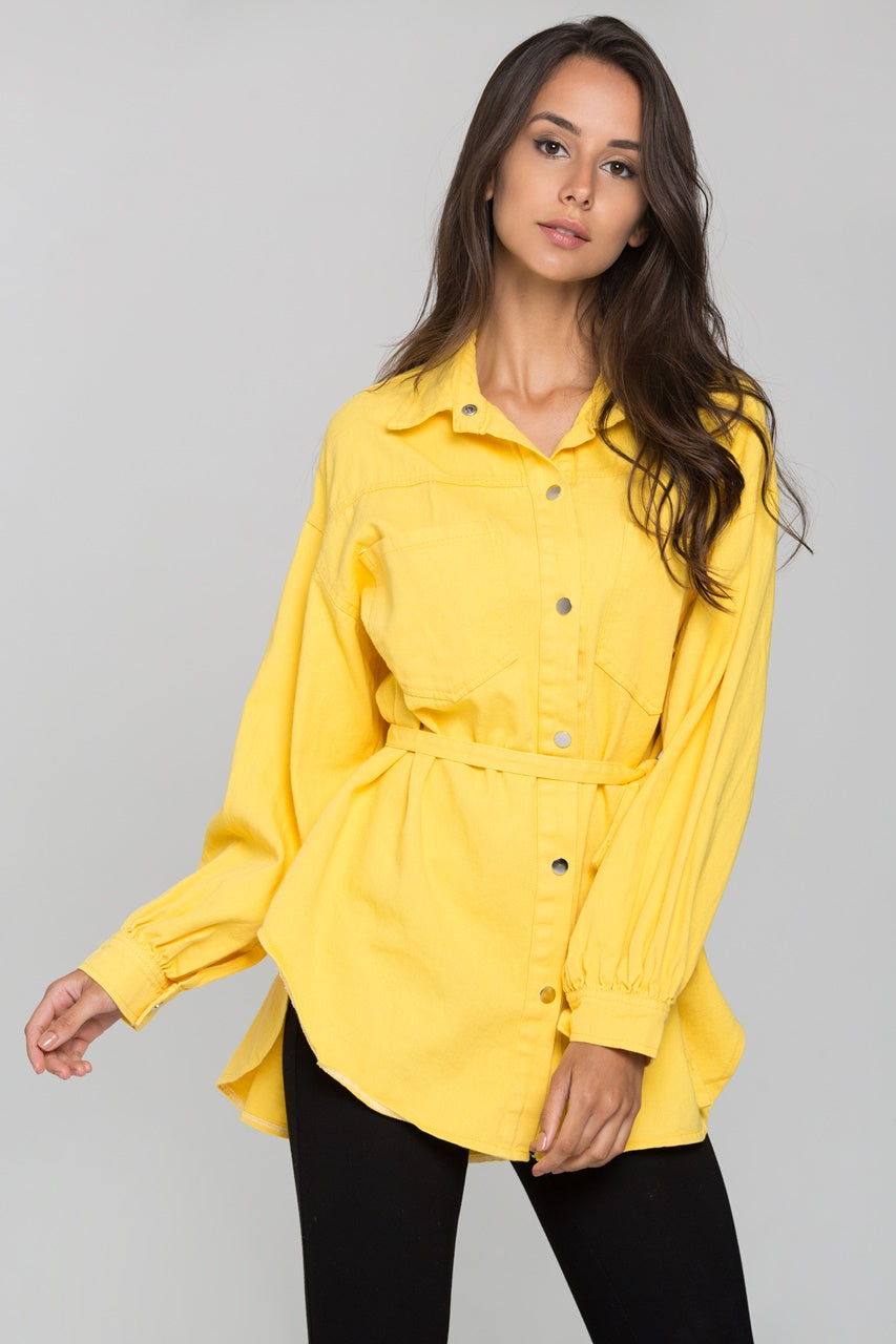 Yellow Denim Oversized Belted Top