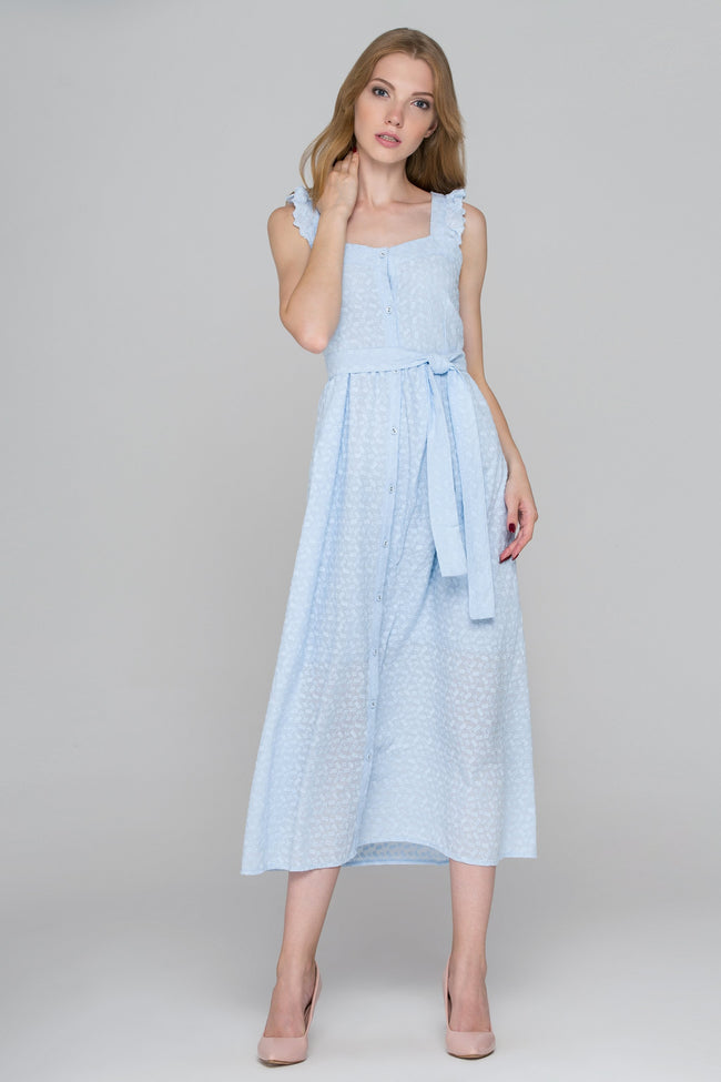Baby Blue Eyelet Button Up Midi Dress