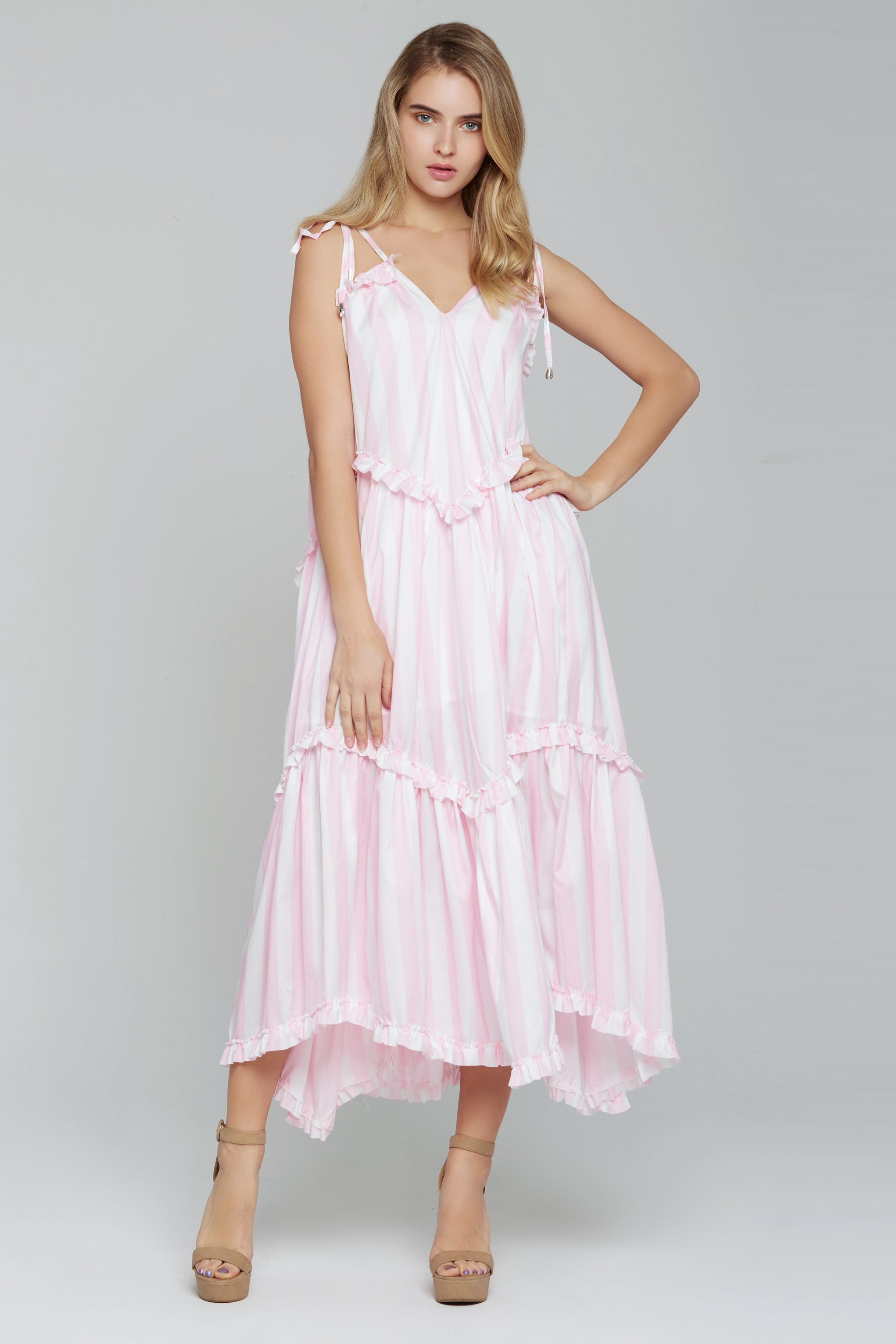 2afc55ca555a Baby Pink and White Stripe Tiered Midi Dress – OwnTheLooks
