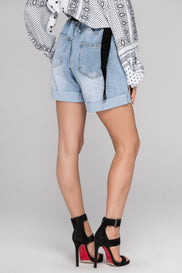 Belted Gathered High Waist Denim Shorts