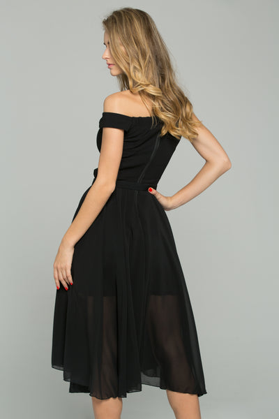 62659b7fb39 Black Chiffon Double Layer Off-The-Shoulder A-Line Midi Dress – OwnTheLooks