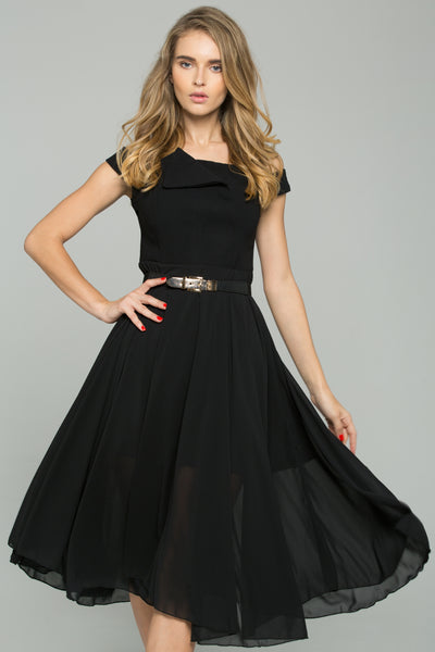 7fdd0b2c9e5 Black Chiffon Double Layer Off-The-Shoulder A-Line Midi Dress – OwnTheLooks