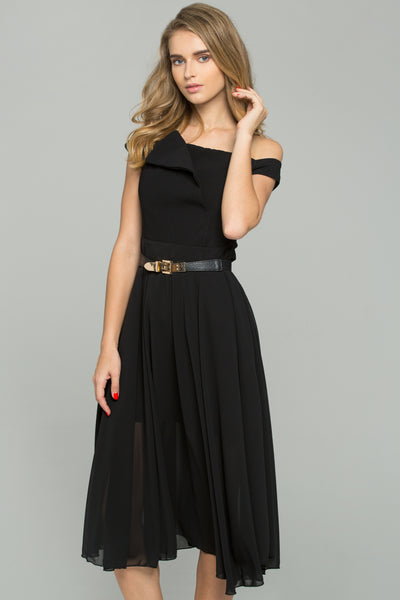 2e6d3ed04f7c Black Chiffon Double Layer Off-The-Shoulder A-Line Midi Dress – OwnTheLooks