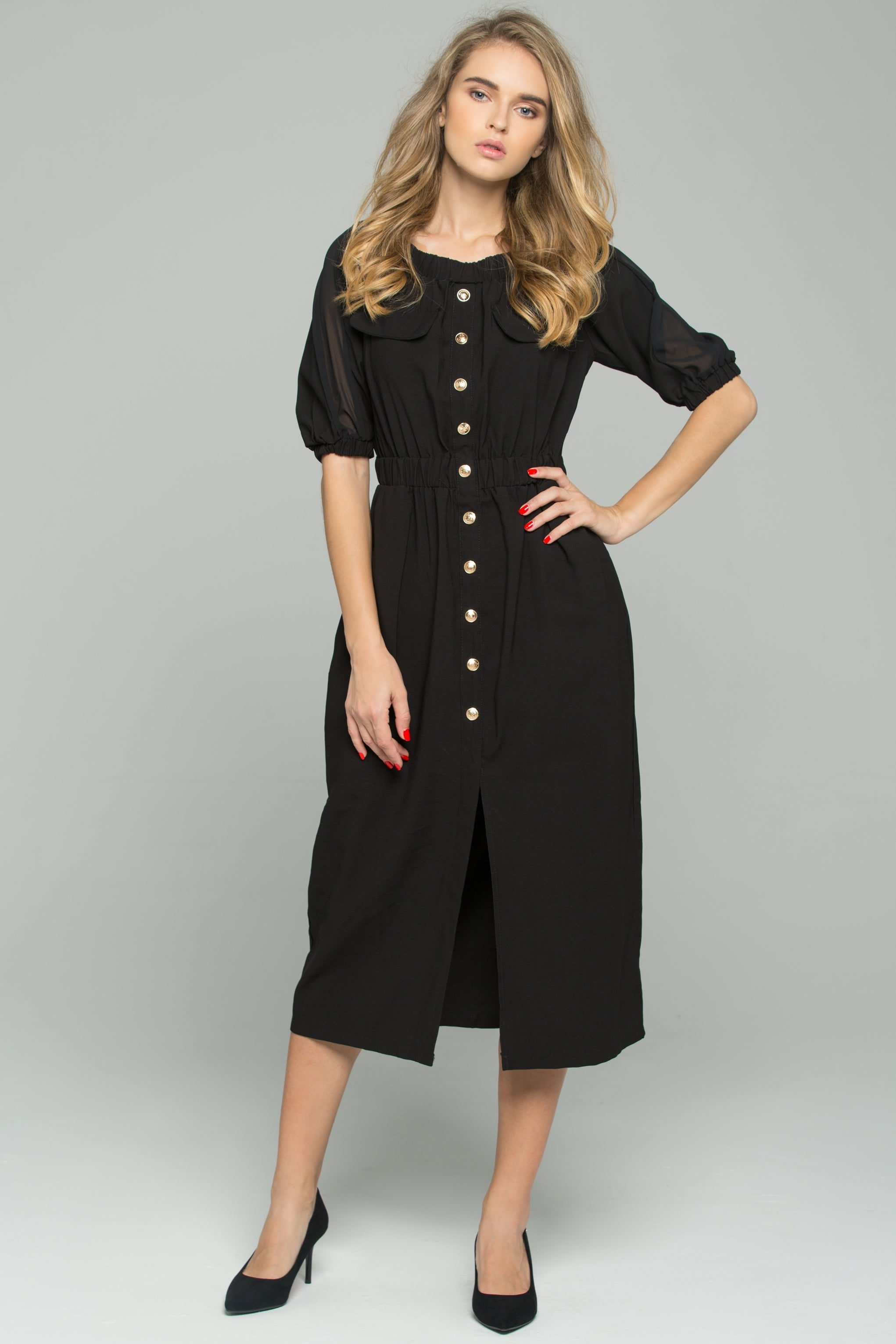 38630e649211 Black Chiffon Ruched Pleat Off-The-Shoulder Button-Down Long-Sleeved M –  OwnTheLooks