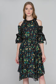 Black Floral Print Pleated Sleeves Cold Shoulder Midi Dress