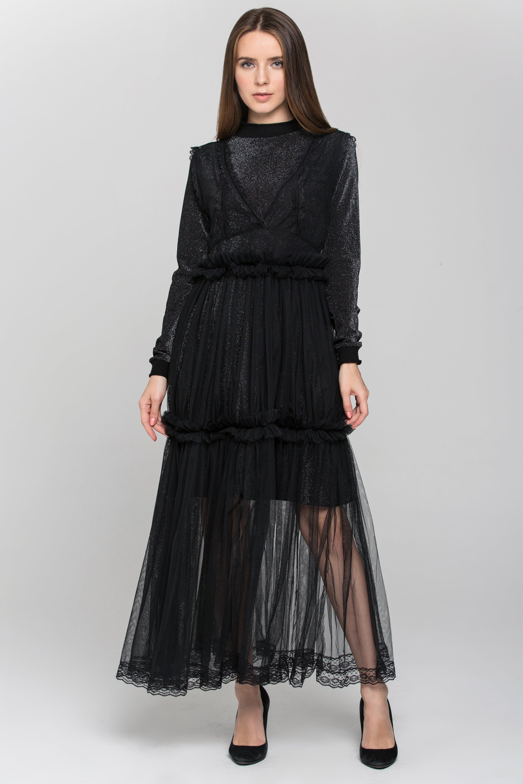 9d81a28c1088d Black Glitter Lace Tiered Soft Tulle Midi Dress – OwnTheLooks