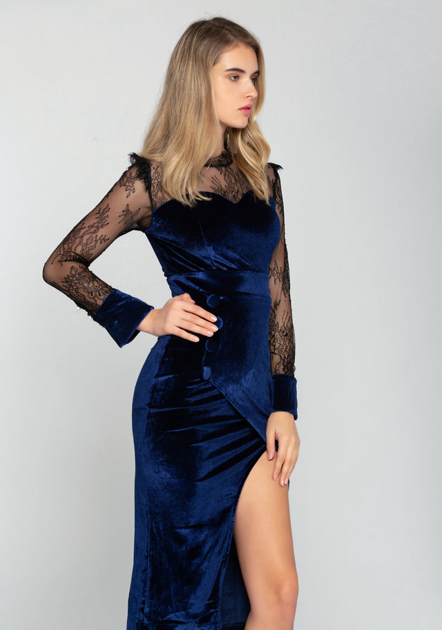 608e4928d8 Black Sheer Yoke Blue Velvet Sweetheart Neck Midi Dress