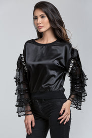 Black Silk Ruffled Sleeves Pullover